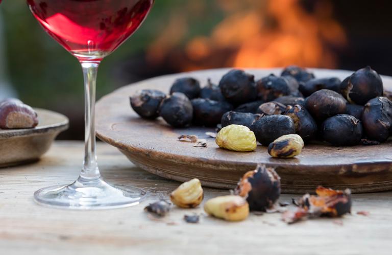 Südtiroler Kastanien und Wein